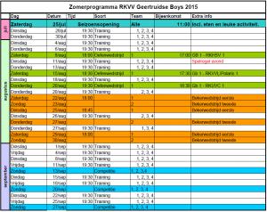 Zomerprogramma 2015-2016