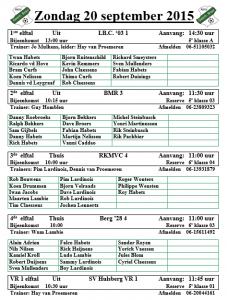 Selectie Senioren 20-9